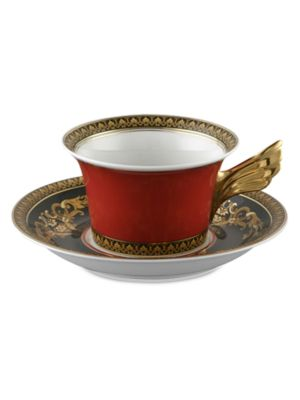 Image of A wonder of elegant scrolls, colors and detail in a porcelain design inspired by the House of Versace's instantly recognizable Medusa logo. From the Medusa Red Collection. Please note: saucer sold separately. Porcelain.7 oz. Hand wash. Made in Germany.