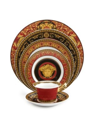 "Image of A wonder of elegant scrolls, colors and detail in a porcelain design inspired by the House of Versace's instantly recognizable Medusa logo. From the Medusa Red Collection. Porcelain.12"" diam. Hand wash. Made in Germany."