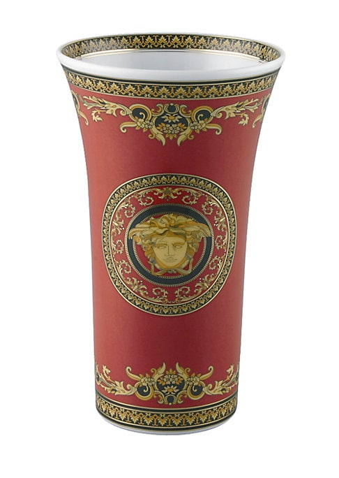 """Image of A wonder of elegant scrolls, colors and detail in a porcelain design inspired by the House of Versace's instantly recognizable Medusa logo. From the Medusa Red Collection. Please note: saucer sold separately. Porcelain. Height, about 10.25"""".Hand wash. Imp"""