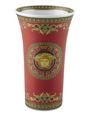 "Image of A wonder of elegant scrolls, colors and detail in a porcelain design inspired by the House of Versace's instantly recognizable Medusa logo. From the Medusa Red Collection. Please note: saucer sold separately. Porcelain. Height, about 10.25"".Hand wash. Imp"