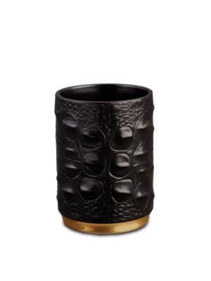 L'OBJET Crocodile Porcelain Pencil Cup in Black