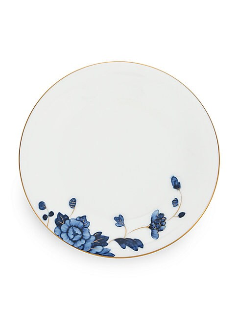 """Image of From the Emperor Collection. Golden trim and vibrant blue florals define this bone china design.6.5"""" diameter. Bone china/24K gold. Hand wash. Imported."""