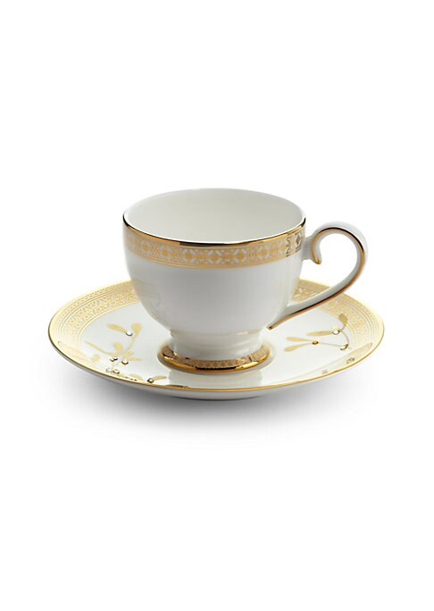 """Image of An elegant pair designed in fine bone china and detailed in gilded trim and Swarovski crystals.6&#189""""H.Swarovski crystals. Bone china/24k gold. Hand wash. Imported."""