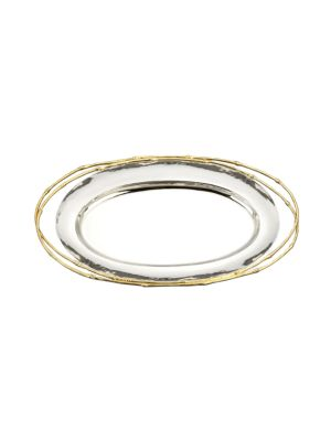 """Image of This elegant serving essential is lightly hammered and trimmed with 24kt gold handles. Available in 16"""" and 21"""" sizes. Nickelplated. Comes in felt bag and gift box. Machine made, hand finished. Hand wash. Imported."""