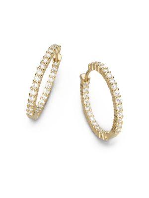 "Diamond & 18 K Yellow Gold Hoop Earrings/1"" by Roberto Coin"