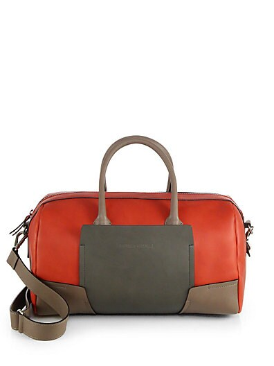 Brunello Cucinelli Colorblock Leather Bowler Bag   Red