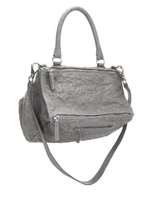 'Medium Pepe Pandora' Leather Satchel - Grey in Pearl Grey
