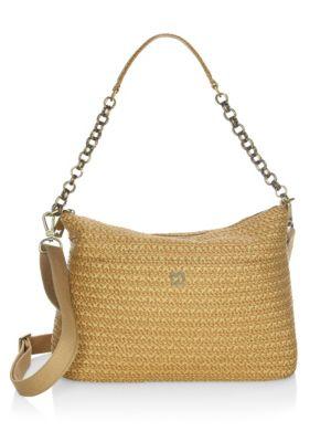 ERIC JAVITS Powchky Zip-Top Shoulder Bag in Natural