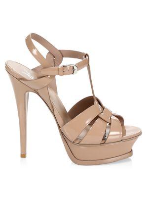 Saint Laurent Tribute 105 Patent Leather Platform Sandals In Dark Nude Patent