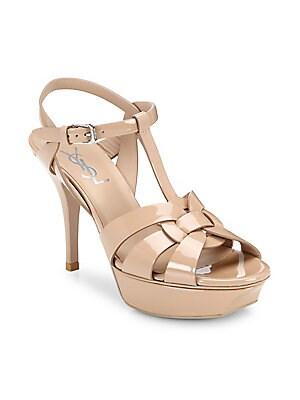 9171f54150c Saint Laurent - Tribute 75 Patent Leather Platform Sandals - saks.com