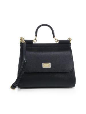 Medium Sicily Leather Top Handle Satchel by Dolce & Gabbana