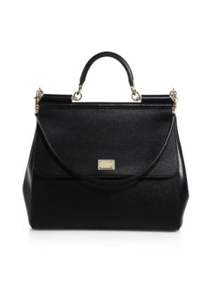 Dolce Gabbana Large Sicily Leather Top Handle