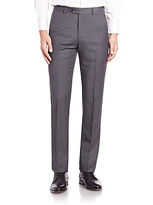 """Image of Beautifully basic trousers are tailored in premium virgin wool. Flat-front style Zip fly Side slash pockets Buttoned back welt pockets Inseam, about 32"""" Virgin wool Dry clean Made in Italy. Men Luxury Coll - Armani Clothing. Armani Collezioni. Color: Blac"""