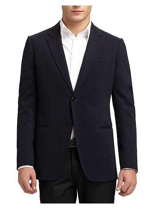"Image of Classic tailored style in easy-going jersey. Notched lapel. Button-front. Welt chest pocket. Front besom pockets. Side vented. About 31"" from shoulder to hem. Viscose/rayon/nylon/elastane. Dry clean. Imported."