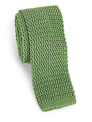 """Image of A French-crafted silk knit tie About 2.5"""" wide Silk Dry clean Made in France. Men Luxury Coll - Charvet. Charvet. Color: Bright Blue."""