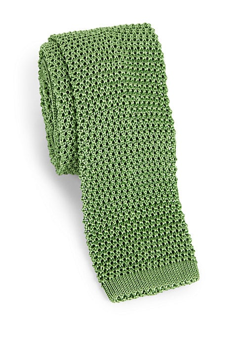 """Image of A French-crafted silk knit tie. About 2.5"""" wide. Silk. Dry clean. Made in France."""