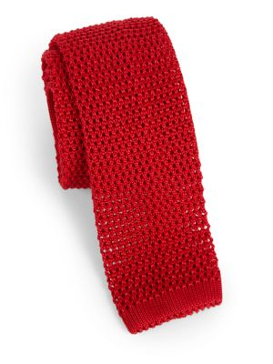 "Image of An French-crafted silk knit tie adds just the right amount of elegance to your favorite suit, sportcoat or cardigan sweater.2.5"" wide. Silk. Dry clean. Made in France."