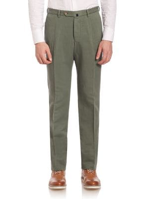SLOWEAR Modern-Fit Chinolino Pants in Green
