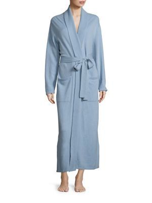 """Image of Relax in this sophisticated and cozy robe designed in luxurious cashmere.V-neck. Self-tie waist. Dropped shoulders. Long sleeves. Front patch pockets. About 54"""" from shoulder to hem. Cashmere. Hand wash. Imported."""