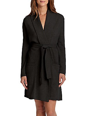 Image of This cashmere short robe features front pockets and is soft to the touch for the perfect lounger. Shawl collar Long sleeves Front patch pockets Self-tie belt at waist Cashmere Dry clean Imported. Lingerie - Cashmere. Arlotta. Color: Black. Size: Medium.