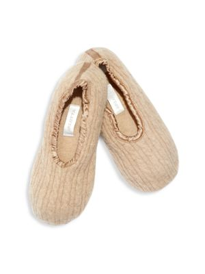 Image of This luxurious style crafted from cashmere and featuring a suede sole easily folds up for travel. .Cashmere upper and lining. Suede sole. Dry clean. Imported.
