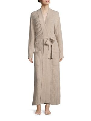 """Image of EXCLUSIVELY AT SAKS FIFTH AVENUE. Sophisticated robe set in luxurious cable-knit cashmere for ultimate comfort. EXCLUSIVELY OURS.V-neck. Self-tie waist. Dropped shoulders. Long sleeves. Front patch pockets. About 54"""" from shoulder to hem. Cashmere. Hand w"""