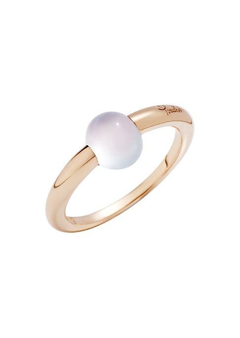 """Image of From the M'ama non M'ama Collection. The moonstone cabochon of this 18k rose gold ring was designed to cast a spell on spectators. Moonstone.18k rose gold. Width, about 0.25"""".Made in Italy."""