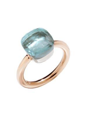POMELLATO Nudo Classic Ring With Blue Topaz In 18K Rose And White Gold in Rose Gold