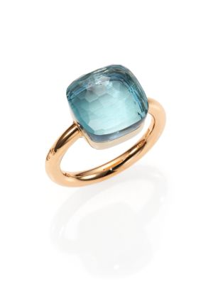 Pomellato Nudo Blue Topaz 18k Rose Gold Ring