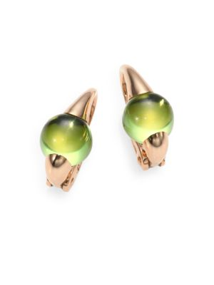 "Image of From the M'Ama Non M'Ama Collection. A gorgeous play on contrasts, featuring cool peridot and warm 18k rose gold. Peridot.18k rose gold. Length, about 0.5"".Leverback. Made in Italy."