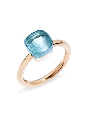 POMELLATO Nudo Mini Ring With Faceted Blue Topaz In 18K Rose And White Gold in Rose Gold