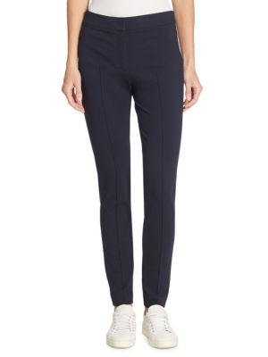 Mara Waffle-Knit Fitted Full-Length Leggings in Navy