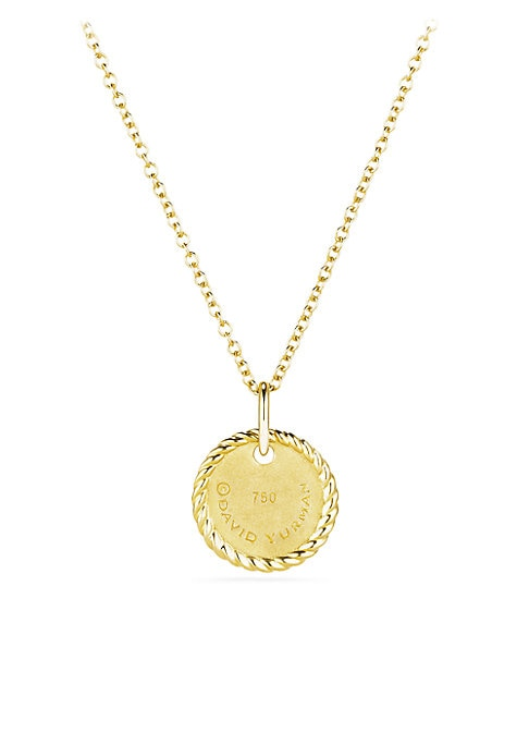 "Image of From the Cable Collectibles? Collection. Gold necklace with initial medallion pendant.18K yellow gold. Pave diamonds, 0.01 tcw. Pendant diameter, about 0.40"".Length, about 16"" with 2"" extender. Lobster clasp. Imported."