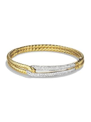 Labyrinth Single Loop Bracelet With Diamonds And Gold in Gold Silver