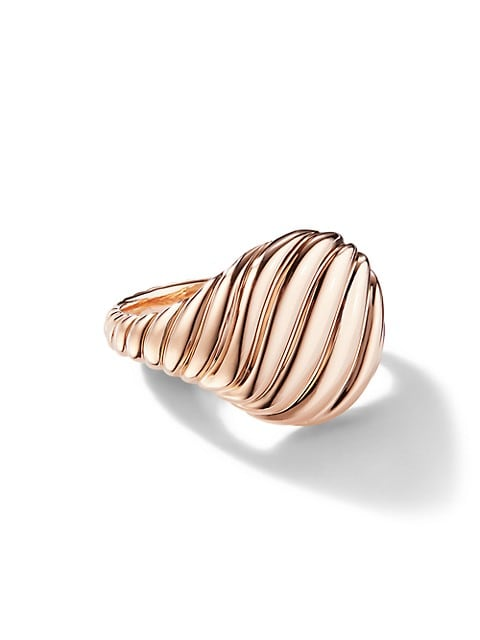 Sculpted Cable Pinky Ring in 18K Rose Gold