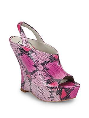 dff8638c0bd Alice + Olivia - Denise Snake-Embossed Leather Wedge Sandals - saks.com
