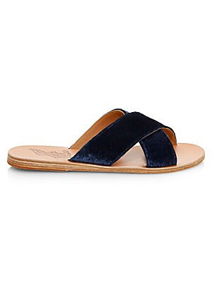Image of Classic slides with crisscross detail on vamp Leather upper Open toe Slip-on style Leather lining and sole Imported. Women's Shoes - Contemporary Womens Shoe. Ancient Greek Sandals. Color: Marine. Size: 35 (5).