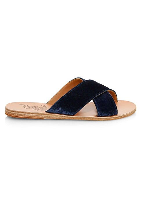 Image of Classic slides with crisscross detail on vamp. Leather upper. Open toe. Slip-on style. Leather lining and sole. Imported.