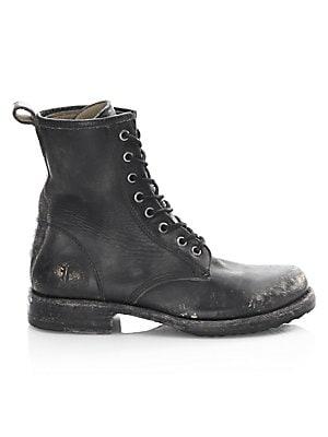 bbc61b3bcdf Fendi - Rockoko Leather   Knit Combat Boots - saks.com
