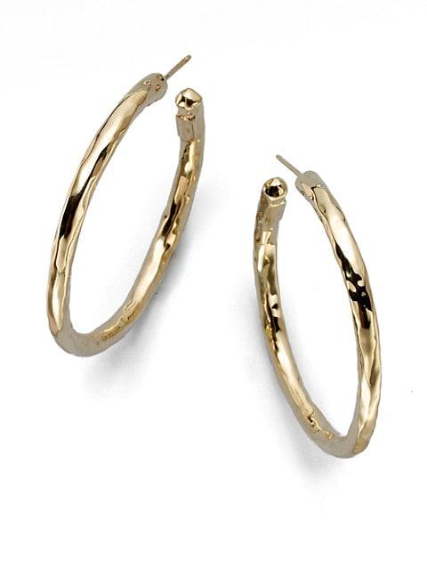 Classico Medium 18K Yellow Gold Hammered Hoop Earrings