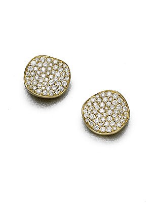 Ippolita Stardust Diamond 18k Yellow Gold Large Stud Earrings