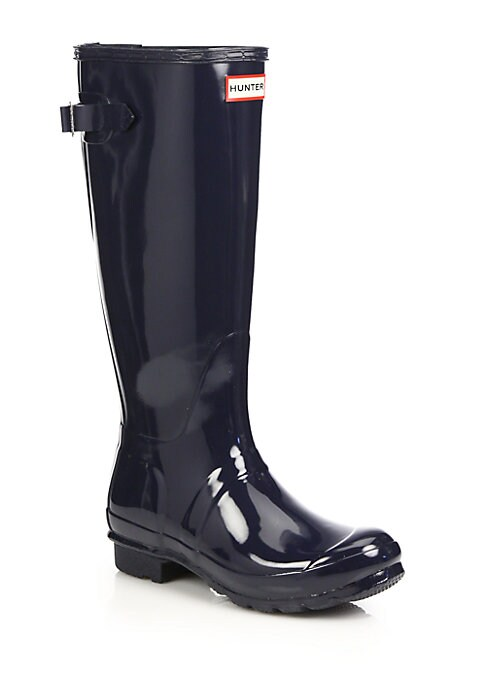 """Image of Rubber rainy-day staple in smooth, glossy finish. Rubber heel, 1"""" (25mm).Shaft, 15"""".Leg circumference, 15"""".Rubber upper. Round toe. Adjustable back buckle. Fabric lining. Treaded rubber sole. Padded insole. Imported."""