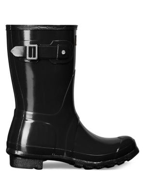 Hunter Women's Original Short Gloss Rain Boots In Black