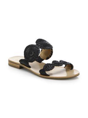 Flat Open Toe Slide Sandals - Lauren in Black