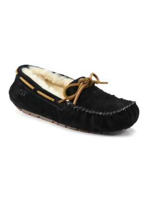 Dakota Suede Shearling-Lined Slippers, Black