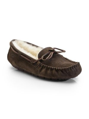 Dakota Suede Shearling-Lined Slippers, Espresso