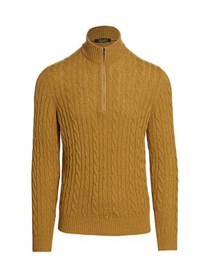 LORO PIANA Cable-Knit Cashmere Half-Zip Sweater - Lt. Brown Size S in Lt.Brown