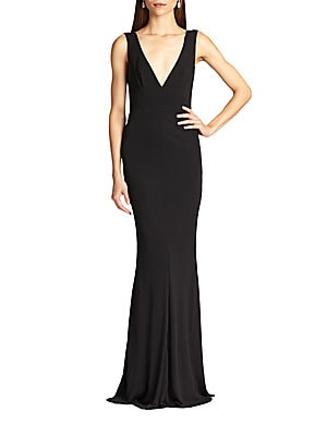 """Image of Sultry V-neck highlights this body-flattering gown Plunging V-neck Sleeveless V-back Concealed back zip Seamed waist About 47"""" from natural waist Rayon Dry clean Made in USA Model shown is 5'10"""" (177cm) wearing size Small. Dress Collectio - Contemporary E"""