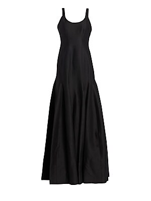 """Image of Elegant sleek design with vertical seam full skirt Scoopneck Sleeveless Concealed back zip Flared skirt Lined About 63"""" from shoulder to hem Cotton/silk Dry clean Imported Model shown is 5'10"""" (177cm) wearing US size 4. Dress Collectio - Contemporary Even"""
