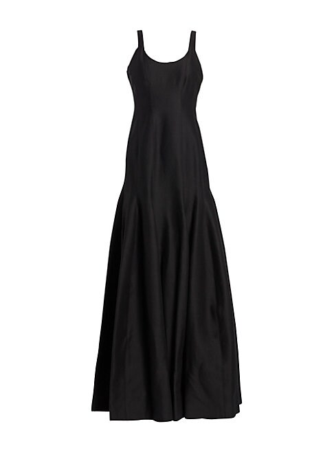 "Image of Elegant sleek design with vertical seam full skirt. Scoopneck. Sleeveless. Concealed back zip. Flared skirt. Lined. About 63"" from shoulder to hem. Cotton/silk. Dry clean. Imported. Model shown is 5'10"" (177cm) wearing US size 4."